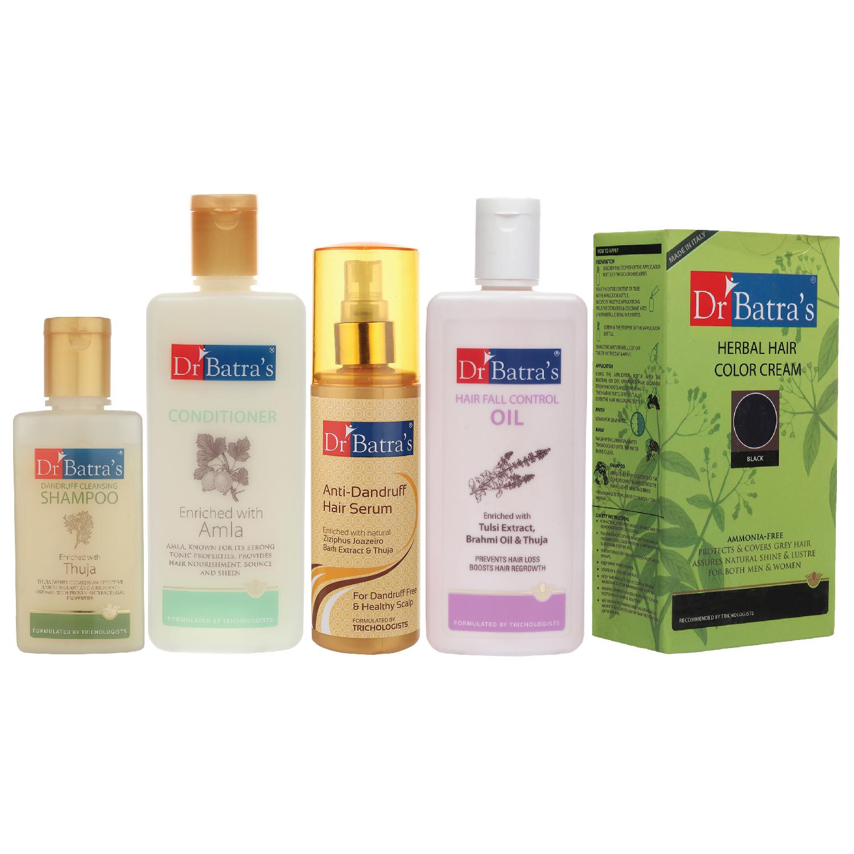 Dr Batra's | Dr Batra's Anti Dandruff Hair Serum, Conditioner - 200 ml, Hair Fall Control Oil- 200 ml, Herbal Hair Color Cream Black and Dandruff Cleansing Shampoo - 100 ml