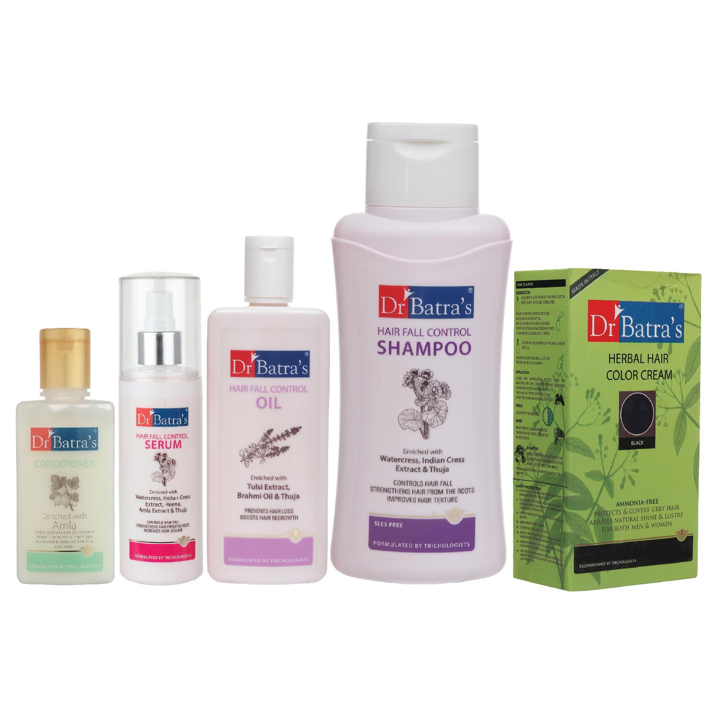 Dr Batra's | Dr Batra's Hair Fall Control Serum-125 ml, Conditioner - 100 ml, Hair Fall Control Oil- 200 ml, Herbal Hair Color Black and Hair Fall Control Shampoo - 500 ml