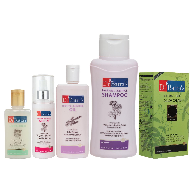 Dr Batra's | Dr Batra's Hair Fall Control Serum-125 ml, Conditioner - 100 ml, Hair Fall Control Oil- 200 ml, Herbal Hair Color Brown and Hair Fall Control Shampoo - 500 ml