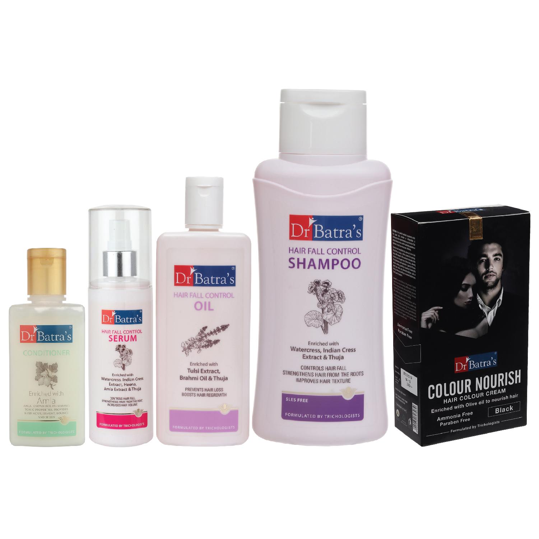 Dr Batra's | Dr Batra's Hair Fall Control Serum-125 ml, Conditioner - 100 ml, Hair Fall Control Oil- 200 ml, Nourish Hair Color Black and Hair Fall Control Shampoo - 500 ml