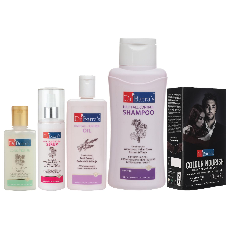 Dr Batra's | Dr Batra's Hair Fall Control Serum-125 ml, Conditioner - 100 ml, Hair Fall Control Oil- 200 ml, Nourish Hair Color Brown and Hair Fall Control Shampoo - 500 ml