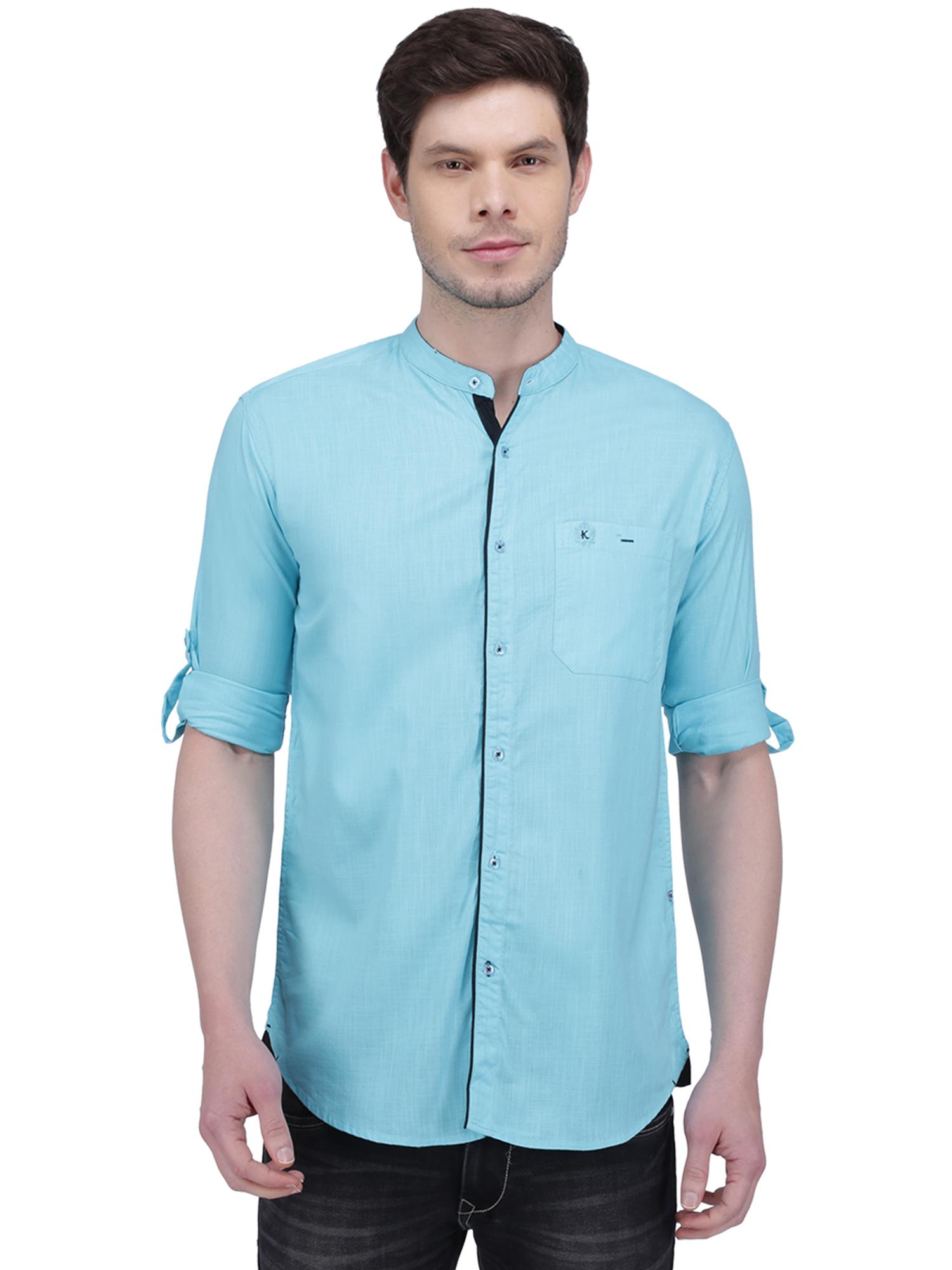 Kuons Avenue | Kuons Avenue Men's Turquoise Linen Cotton Casual Shirt- KACLFS1291TQ