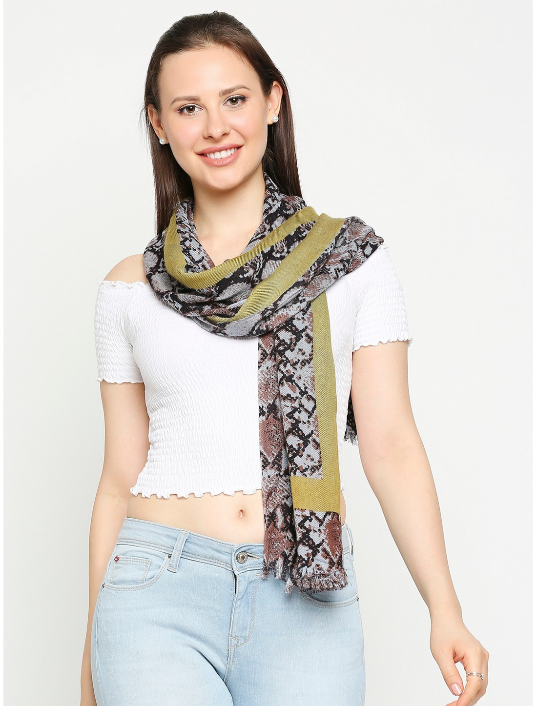 Get Wrapped | Get Wrapped Printed Multicolour Scarves with Raw Fringes for Women