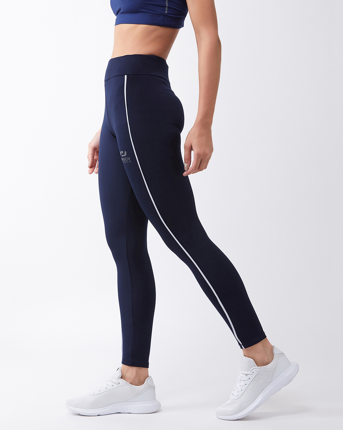 Masch Sports   Masch Sports Women's Navy Blue Solid Sports Tights with Front White Piping