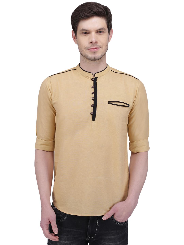 Kuons Avenue | Kuons Avenue Men's Royal Beige Linen Cotton Short Kurta- KACLFS1301BE