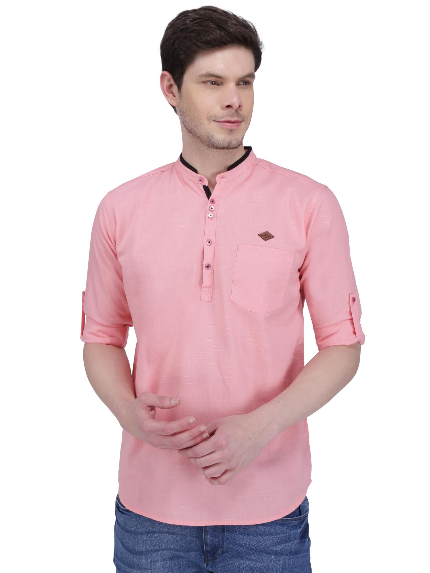 Kuons Avenue | Kuons Avenue Men's Blush Pink Linen Cotton Short Kurta- KACLFS1318PK