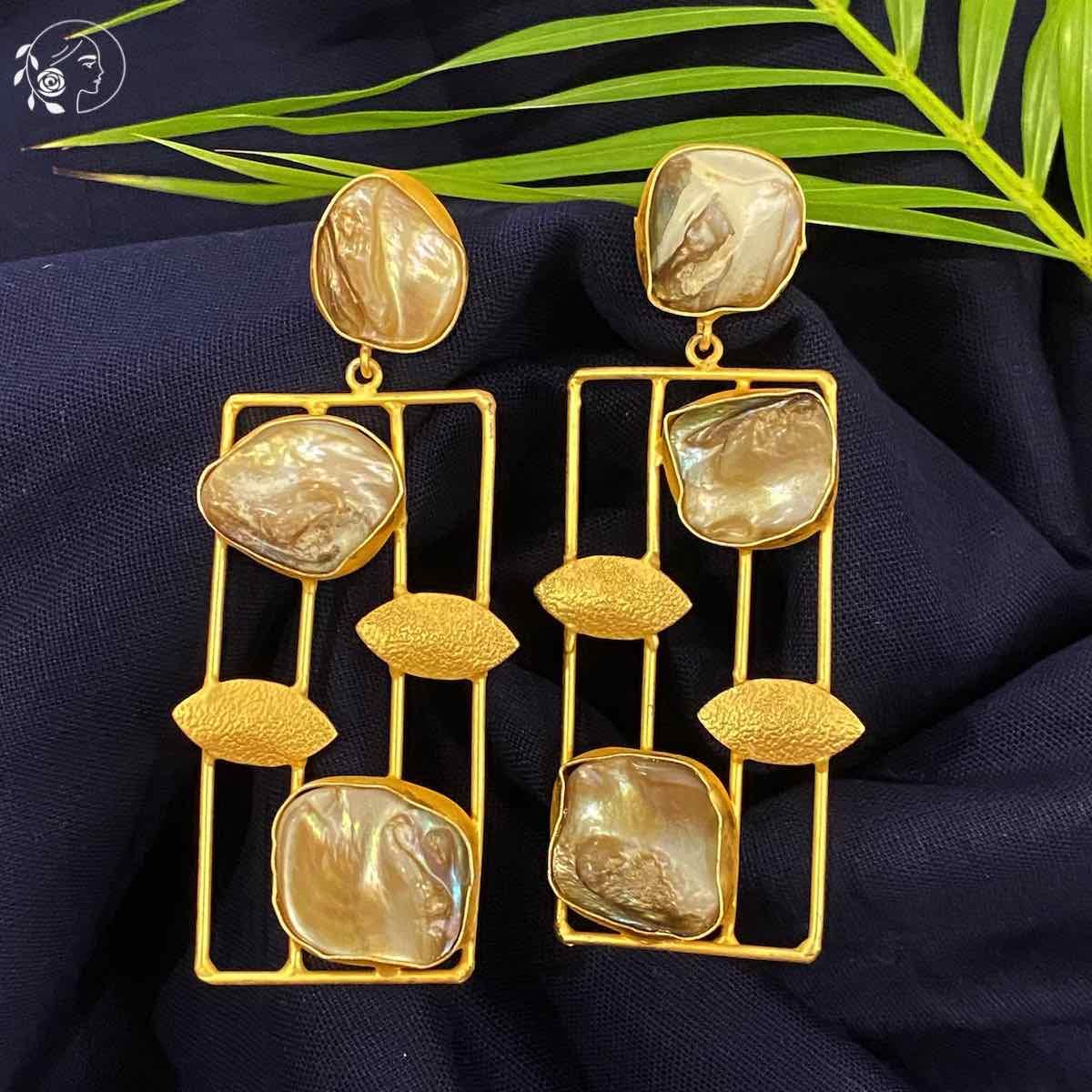 Swabhimann Jewellery   Swabhimann Yama Mother of Pearl Earrings with Gold Leaf