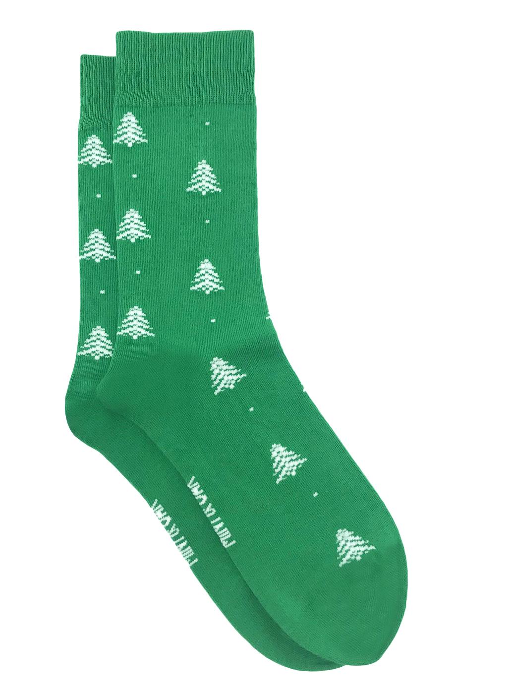 Mint & Oak   Mint & Oak Christmas Tree Green Calf Length Socks for Men