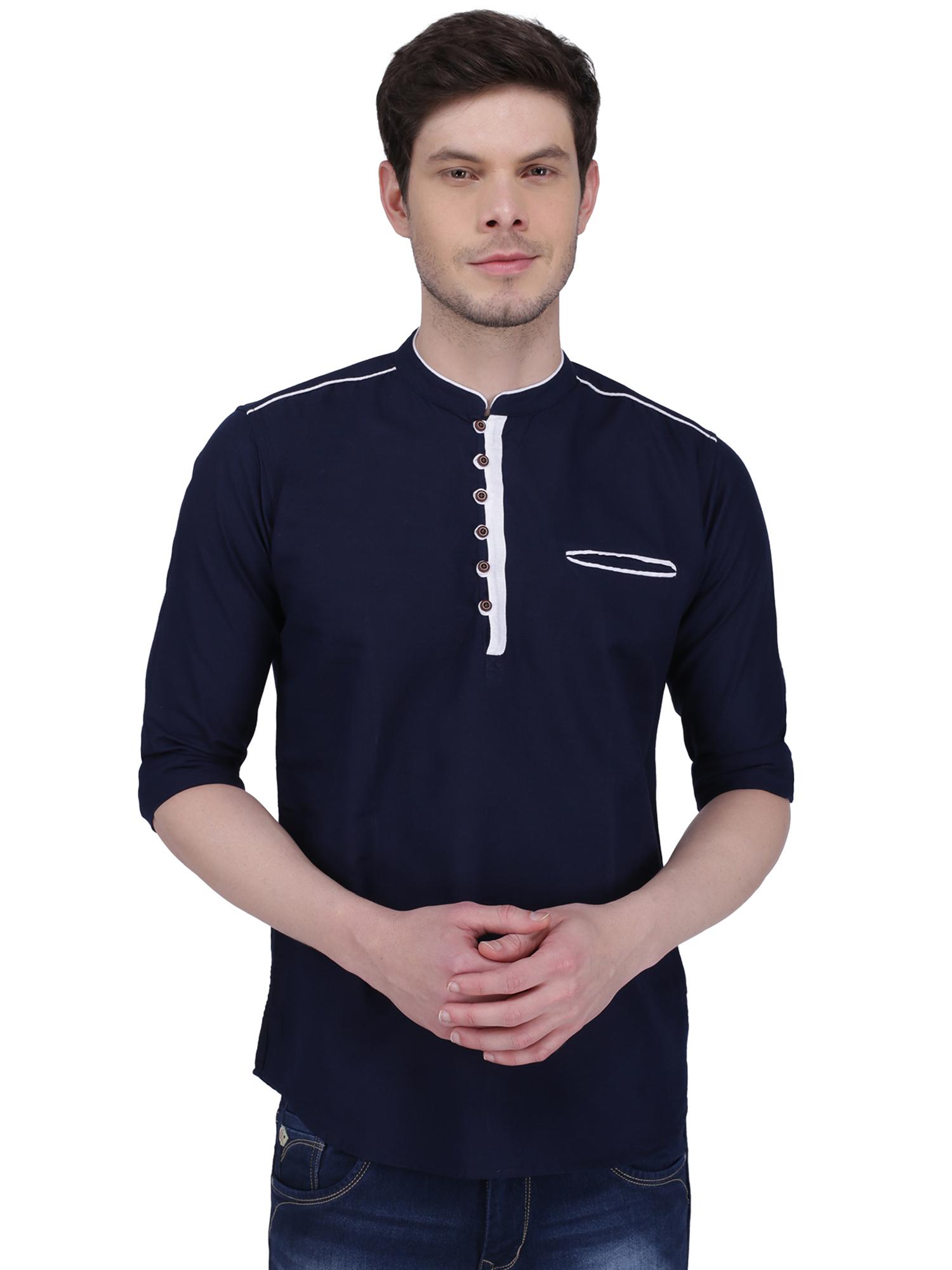 Kuons Avenue | Kuons Avenue Men's Navy Linen Cotton Short Kurta- KACLFS1160NY