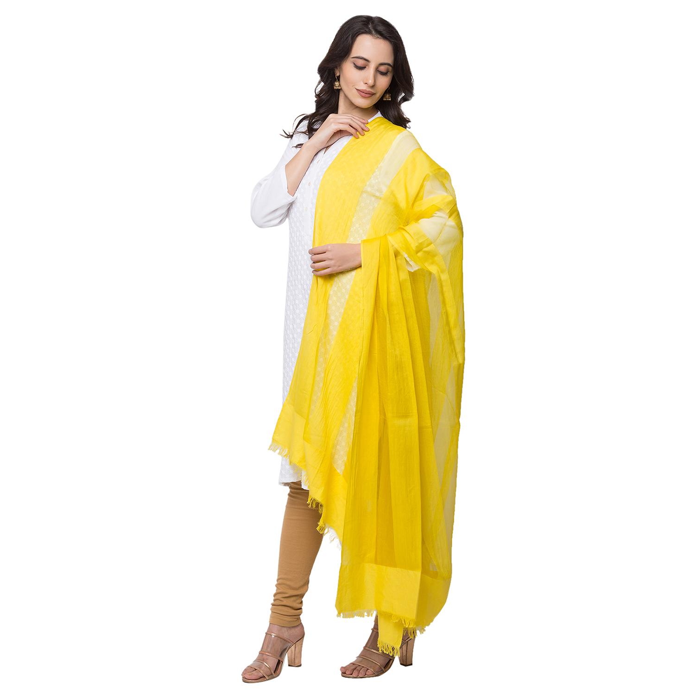 Ethnicity | Silk Blend  Straight Women Yellow Dupatta