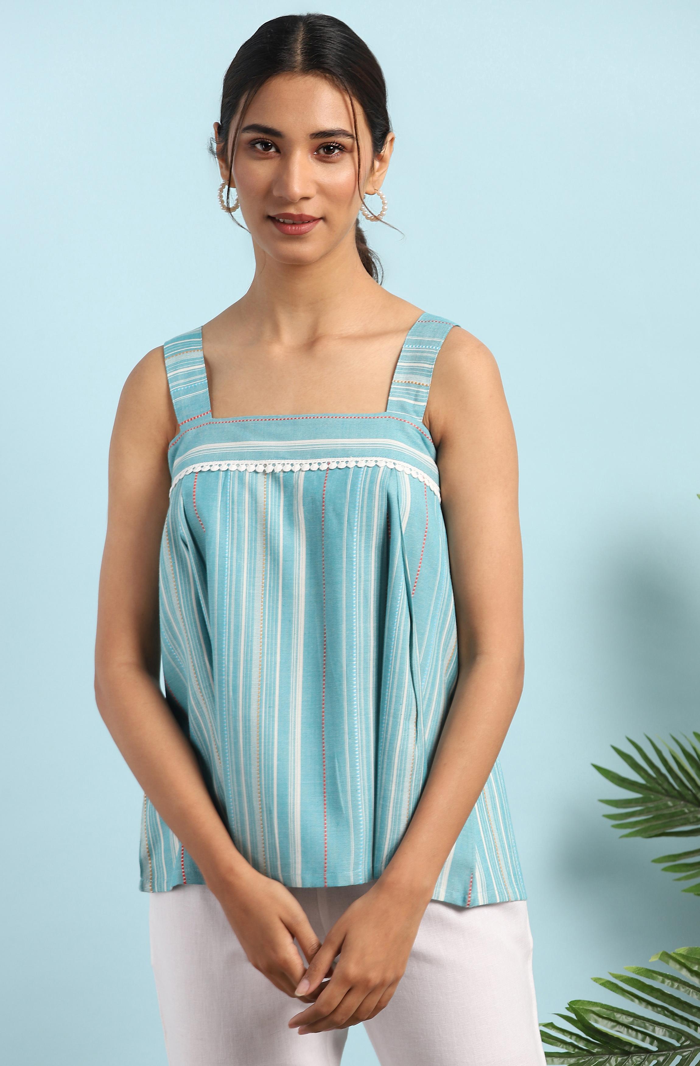 Janasya | Janasya Women's Green Cotton Blend Top
