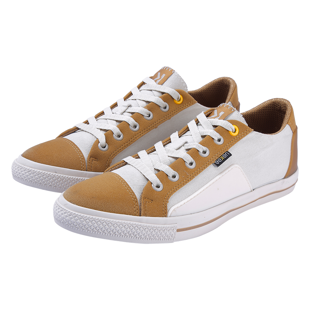 EEKEN | EEKEN White-Brown Canvas Lightweight Casual Shoes for Men (by Paragon)