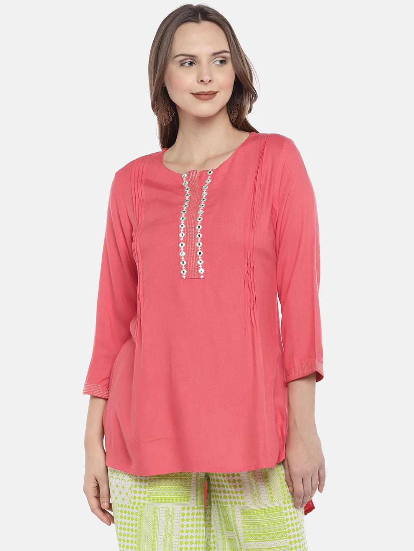 Ethnicity   Ethnicity Pink Rayon Women Kurta