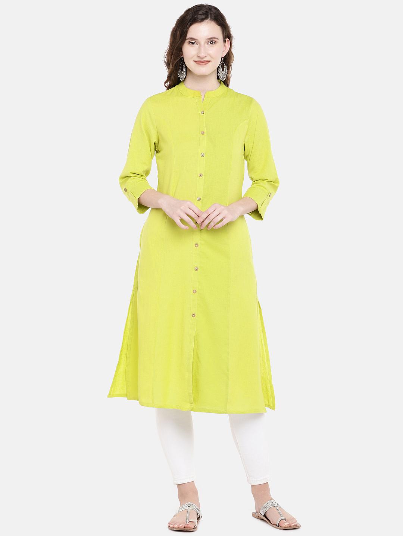 Ethnicity | Ethnicity Lime Green Cotton Flax Women Kurta