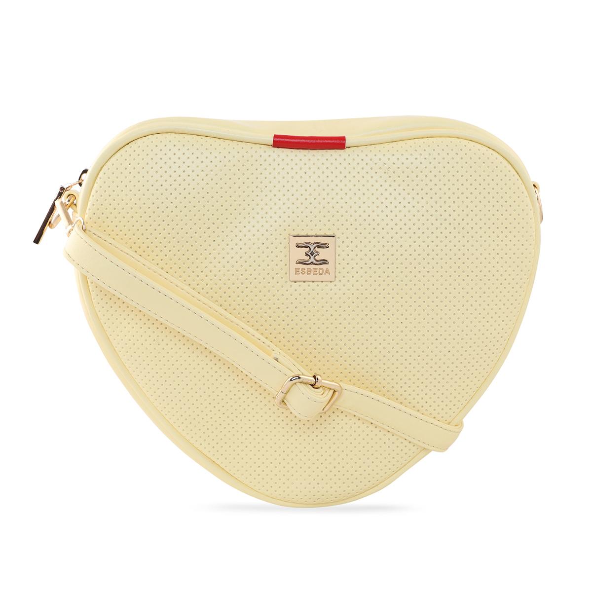 ESBEDA | ESBEDA Light Yellow Color Heart Shape Sling Bag For Women