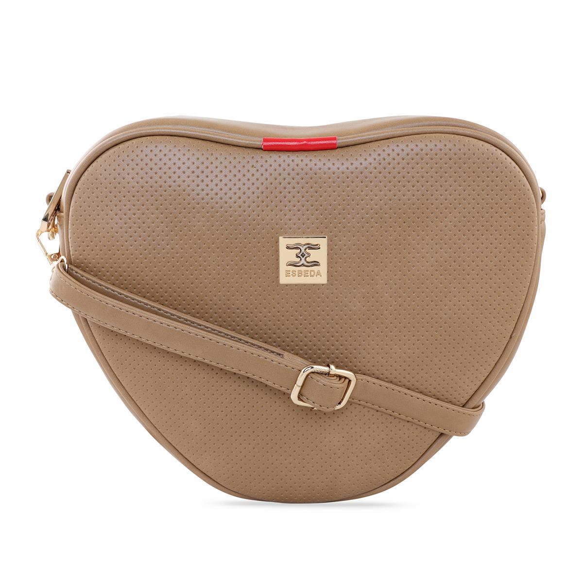 ESBEDA | ESBEDA Beige Color Heart Shape Sling Bag For Women