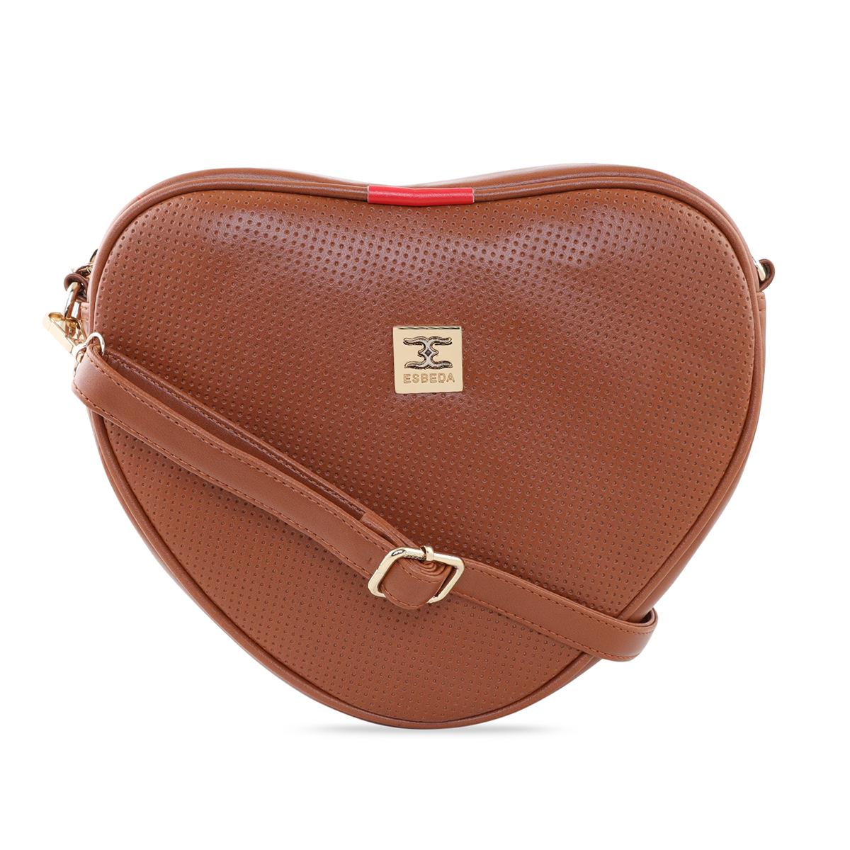 ESBEDA | ESBEDA Tan Color Heart Shape Sling Bag For Women