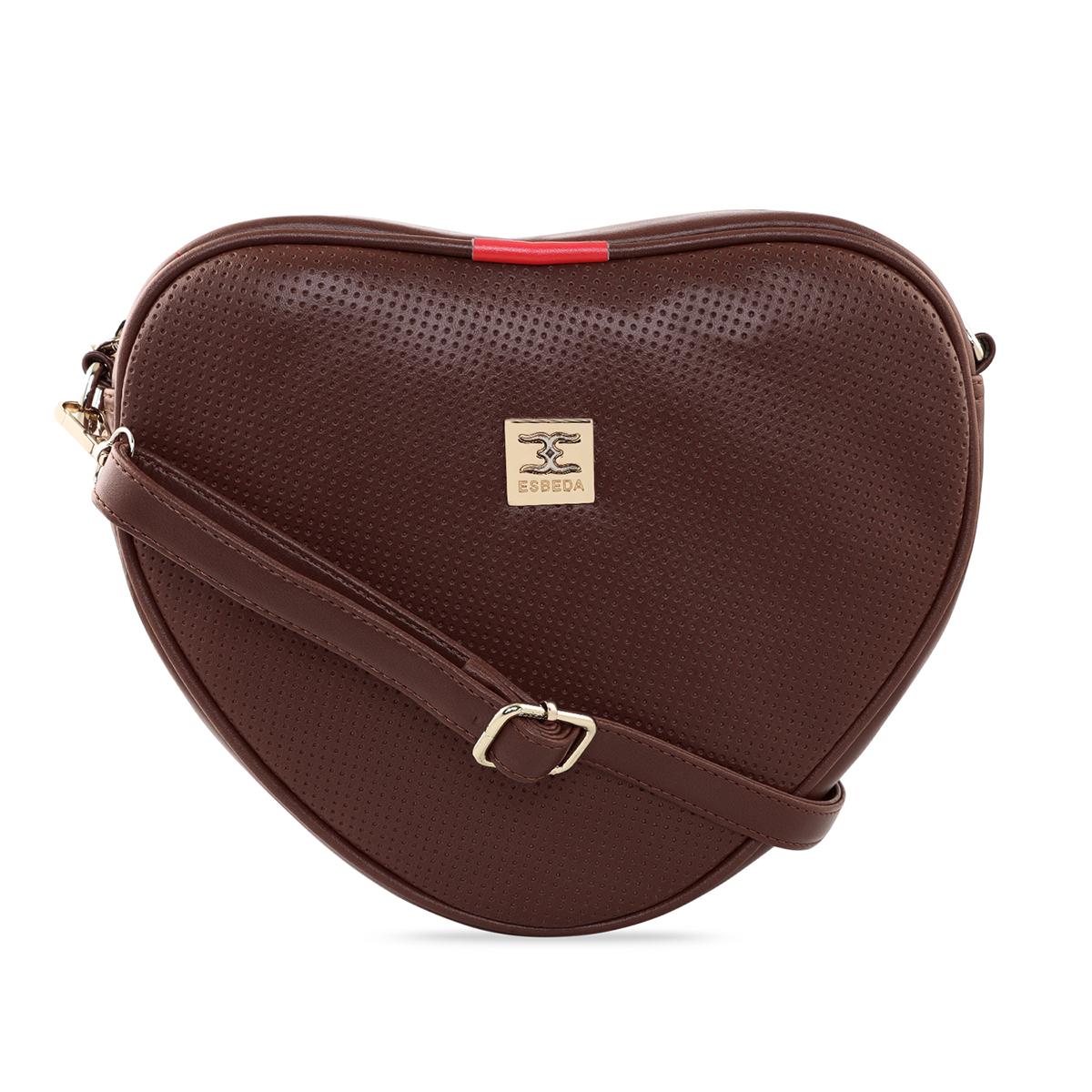 ESBEDA | ESBEDA Dark Brown Color Heart Shape Sling Bag For Women