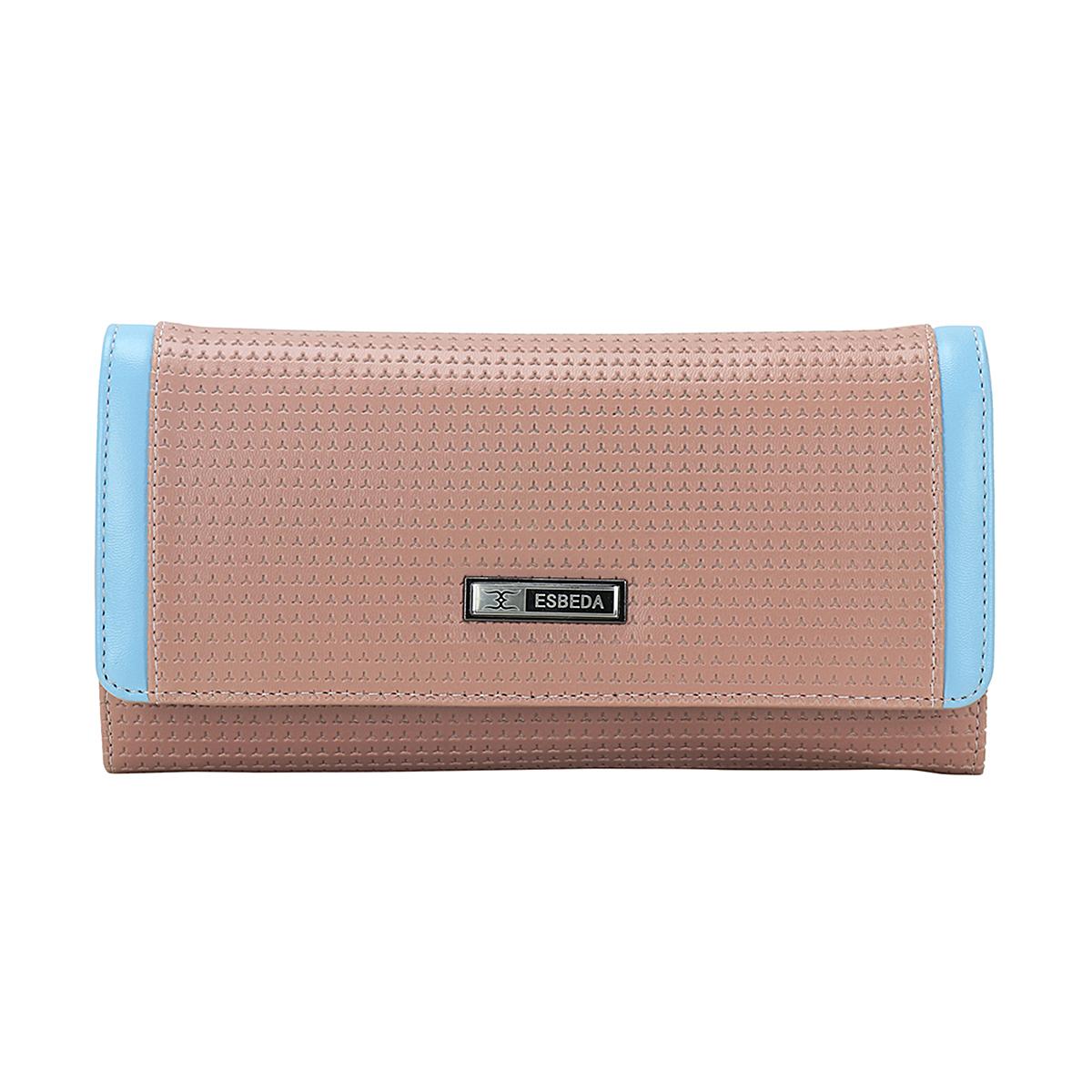 ESBEDA | ESBEDA Peach Color Emboss Texture Wallet For Women
