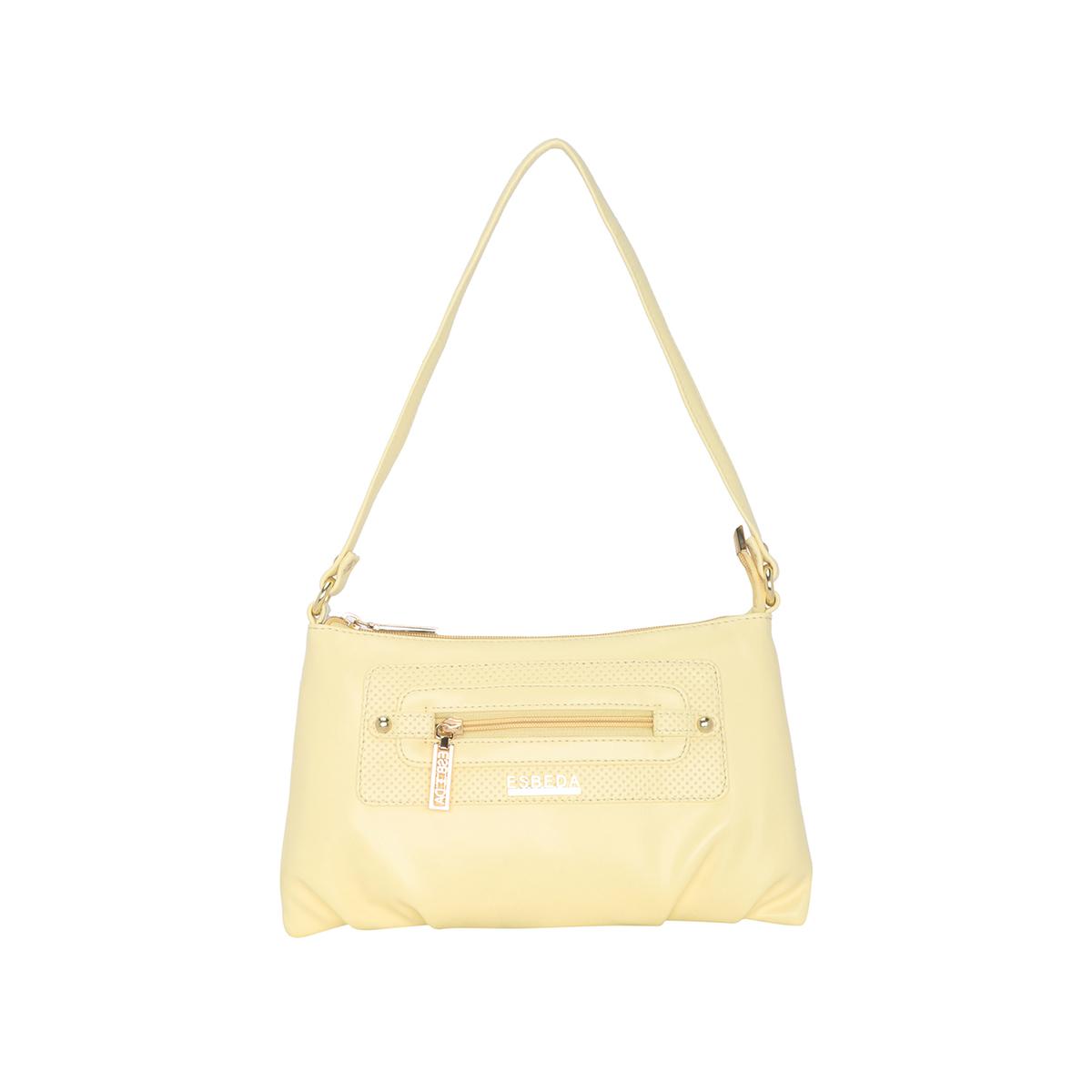 ESBEDA | ESBEDA Light Yellow Color Baize Handbag For Women