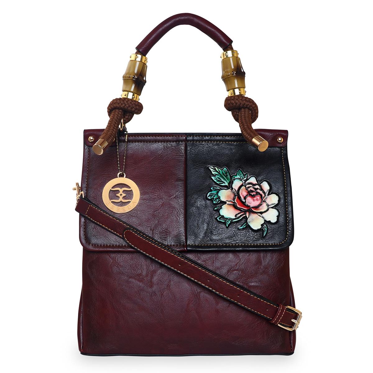 ESBEDA | ESBEDA Maroon Color Solid Pattern 3D Flower Print Handbag For Women