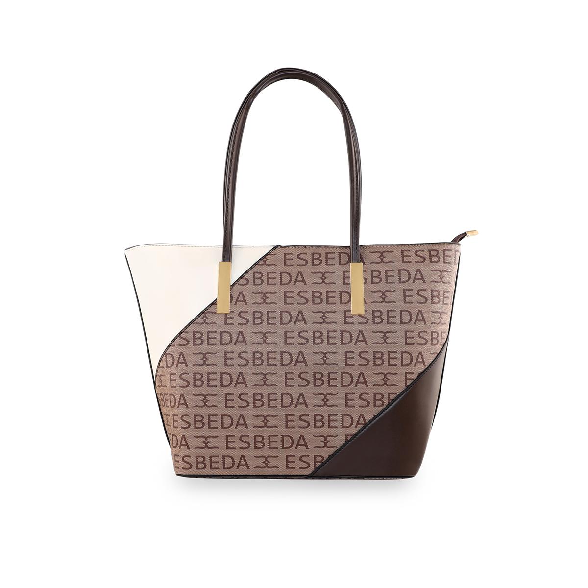 ESBEDA | ESBEDA Coffee Brown Color Logo Printed Basket Handbag For Women