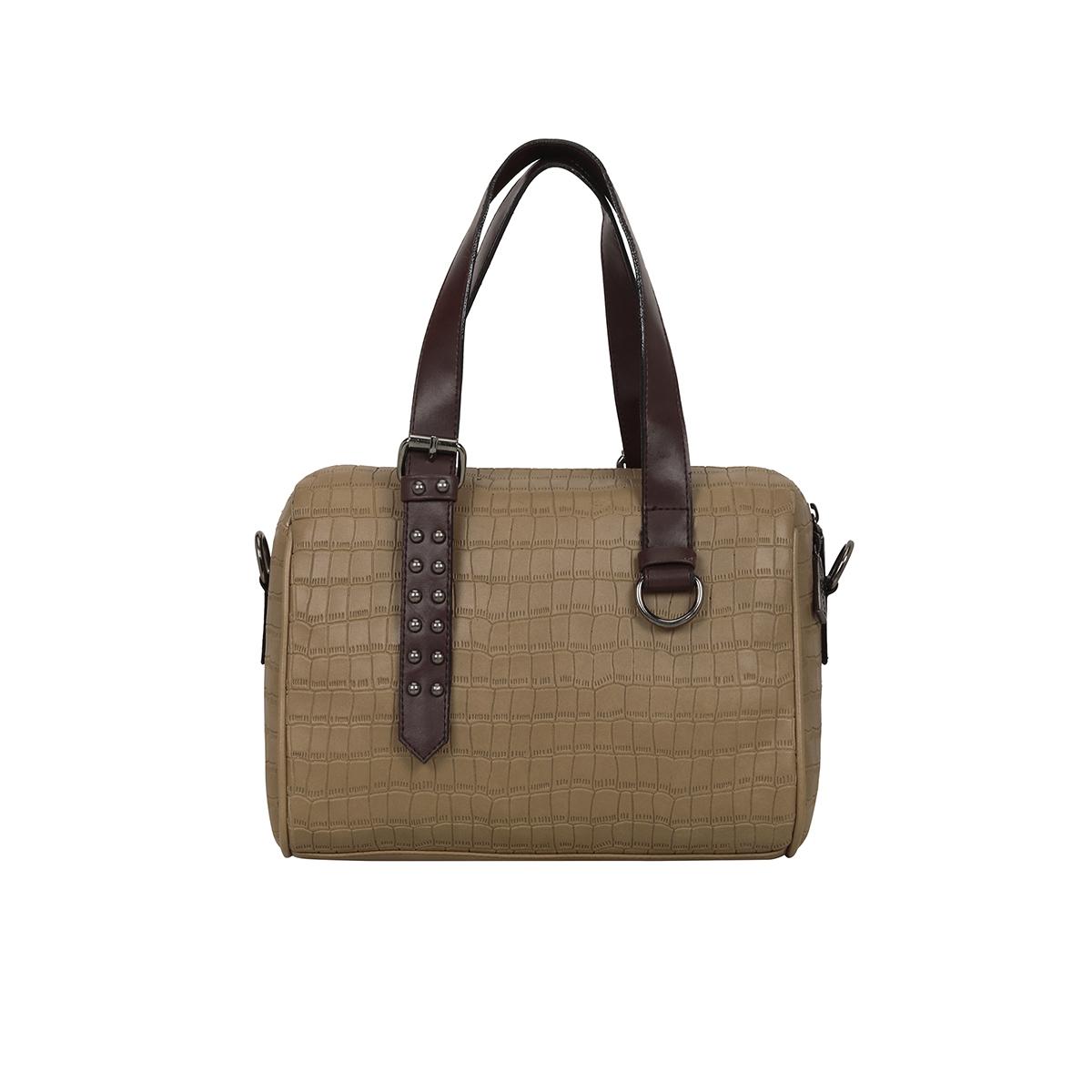 ESBEDA | ESBEDA Beige Color Solid Mini Duffle Croco Handbag For Women