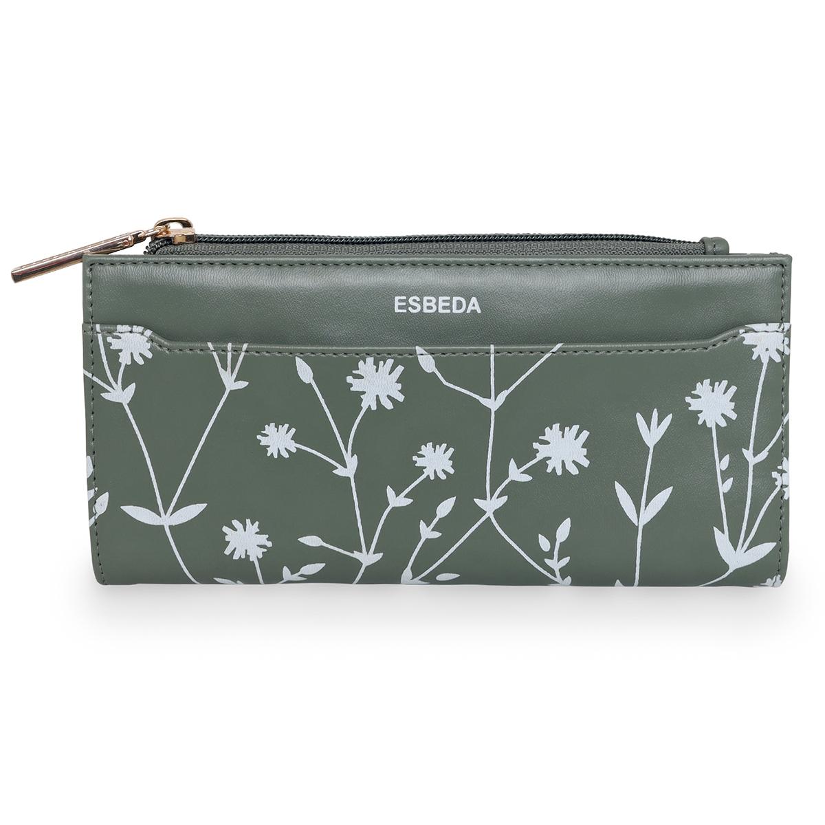 ESBEDA   ESBEDA Olive Green Color Floral Printed Bifold Long walllet For Women