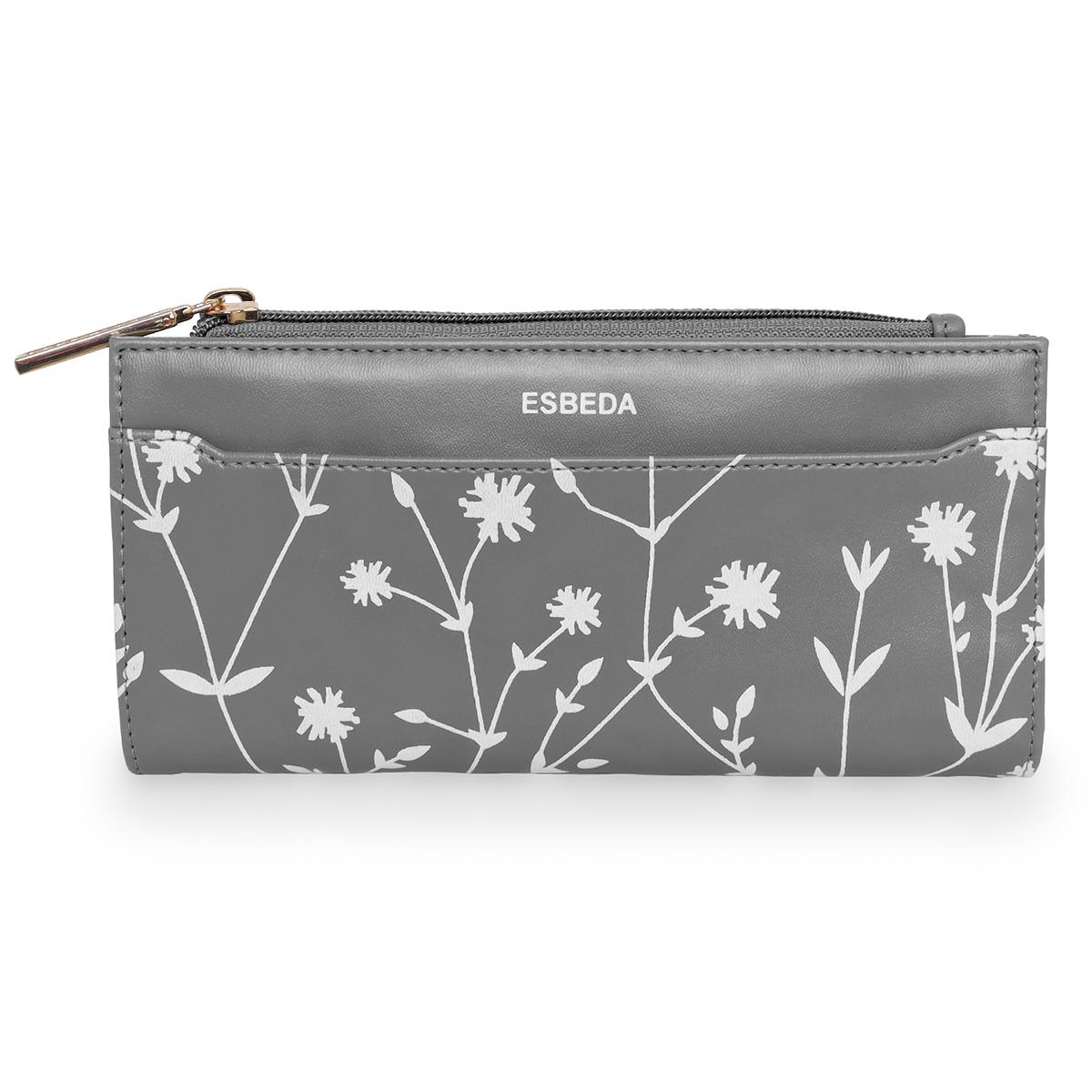 ESBEDA | ESBEDA Grey Color Floral Printed Bifold Long walllet For Women