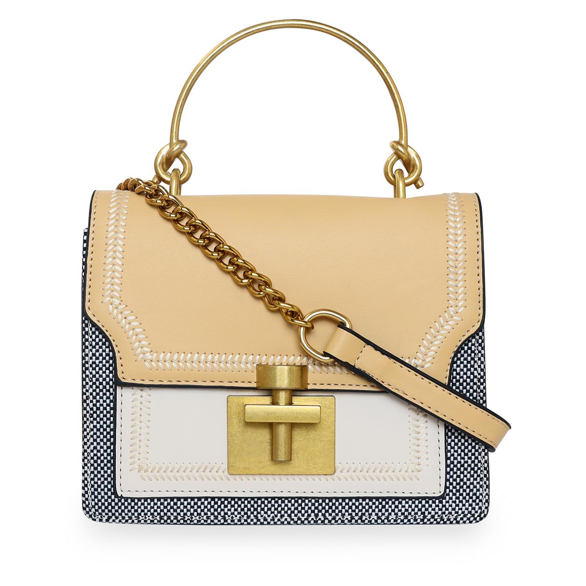 ESBEDA | ESBEDA Camel - Cream Color Solid Pattern Crossbody Box Mini Handbag For Women
