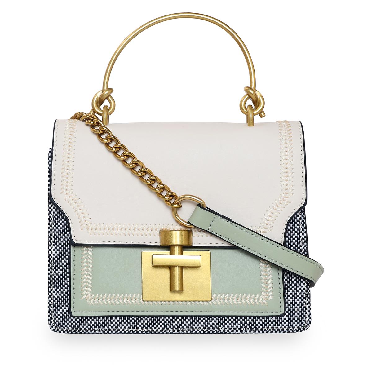 ESBEDA | ESBEDA Cream - Pista Color Solid Pattern Crossbody Box Mini Handbag For Women