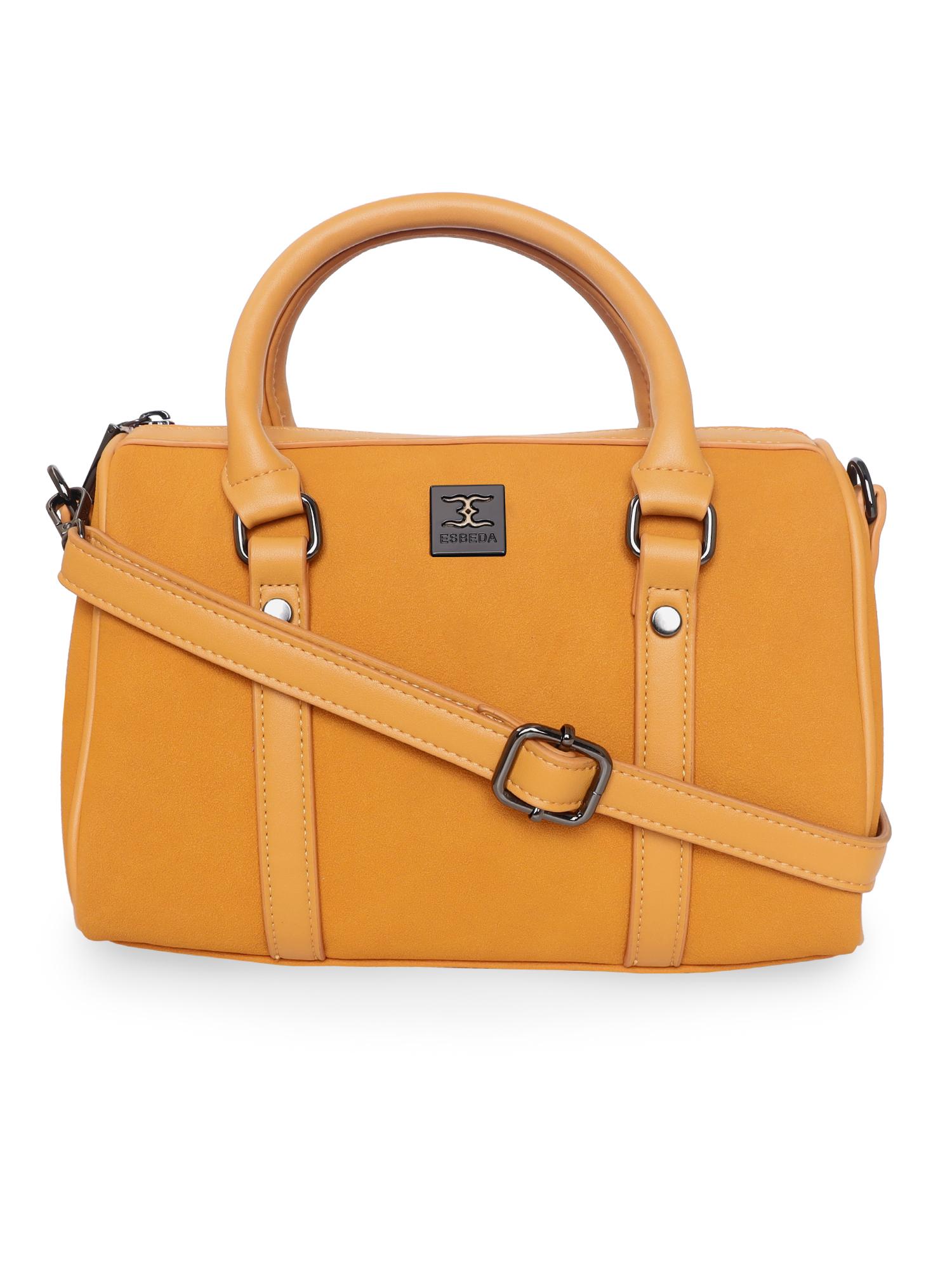 ESBEDA | ESBEDA Mustard Color Solid Pattern Soft Suede Handbag For Women