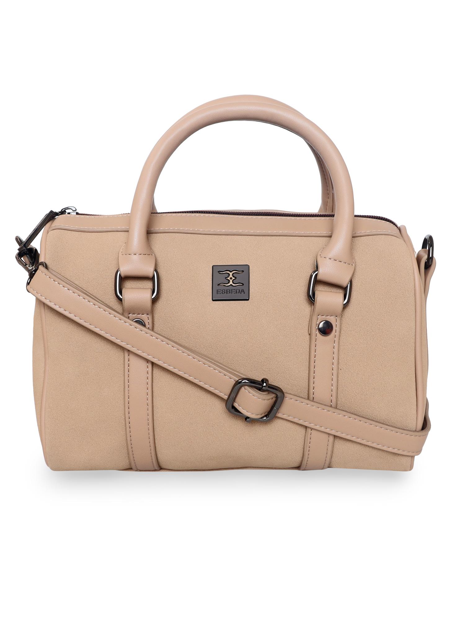 ESBEDA | ESBEDA Beige Color Solid Pattern Soft Suede Handbag For Women