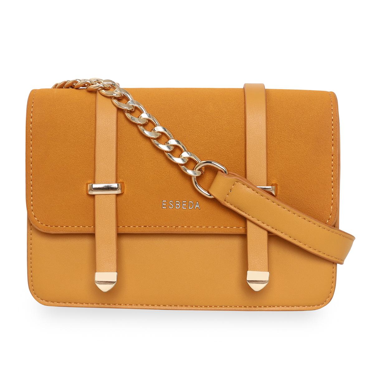 ESBEDA | ESBEDA Mustard  Color Solid Pattern Crossbody Box Sling Bag For Women