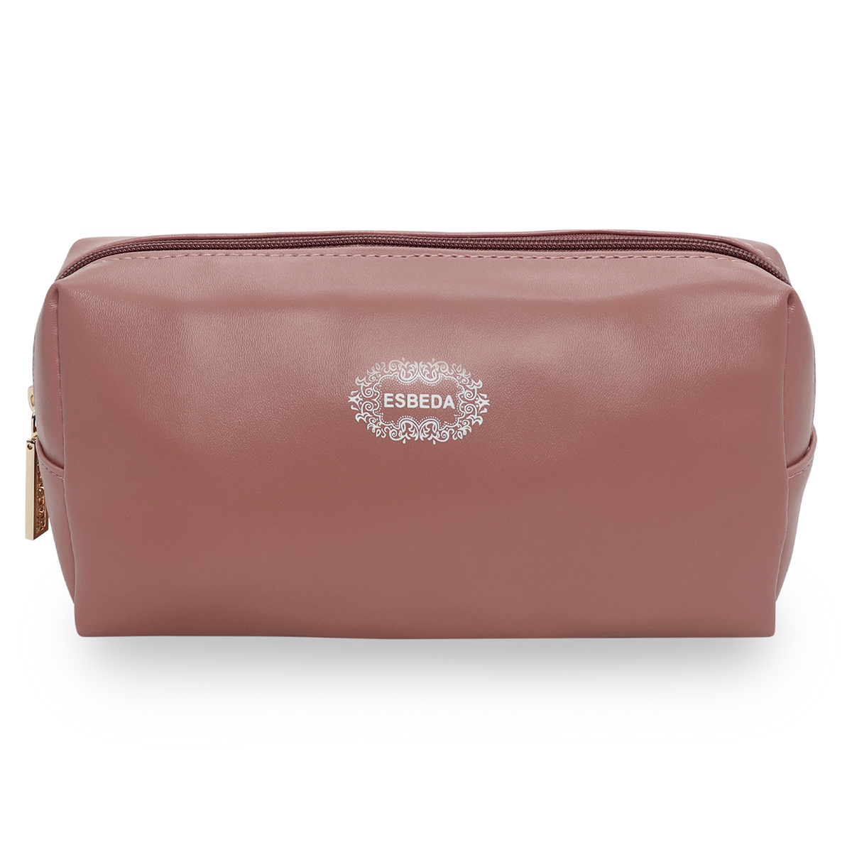 ESBEDA | ESBEDA Simple Peach Color Cosmetic Bag Portable Makeup Pouch for Women Multifunctional Travel Storage Toiletry Bag