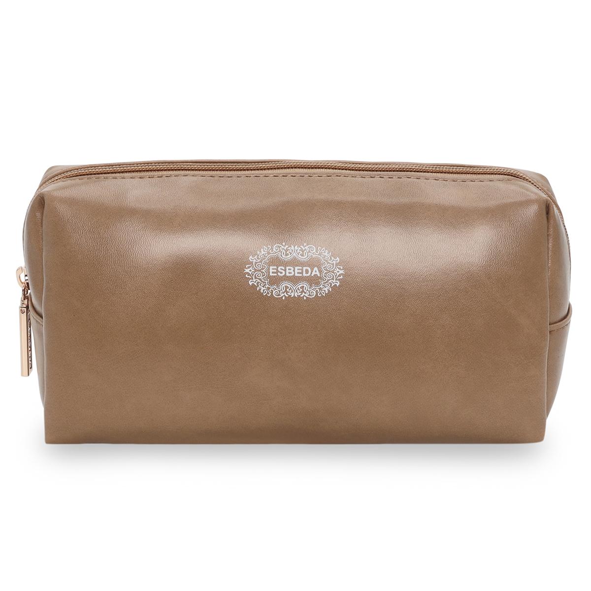 ESBEDA | ESBEDA Simple Beige Color Cosmetic Bag Portable Makeup Pouch for Women Multifunctional Travel Storage Toiletry Bag