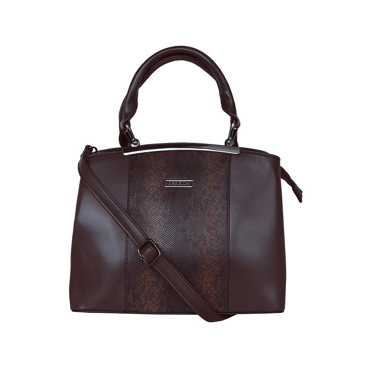 ESBEDA | ESBEDA Coffee Brown Colour Glaze Croco Handbag For Women