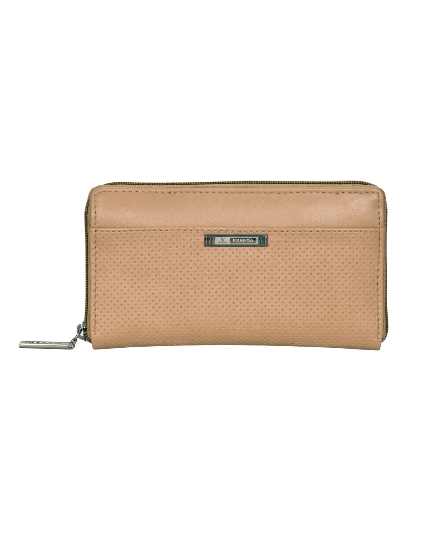 ESBEDA | ESBEDA Beige Color Solid Pattern Texture Zip Around Wallet For Women