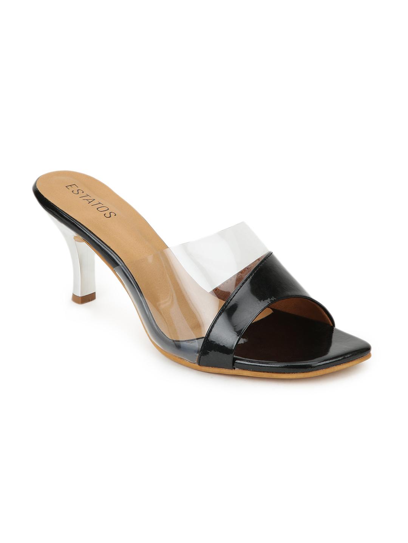 ESTATOS | Estatos Synthetic Leather Pointed Heeled Black Sandals