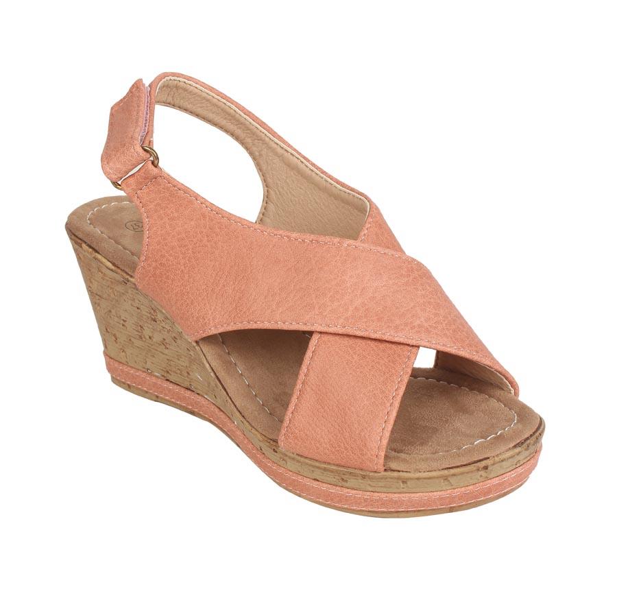 ESTATOS | Estatos PU Peach Coloured Cross Strap Open Toe Platform Wedges