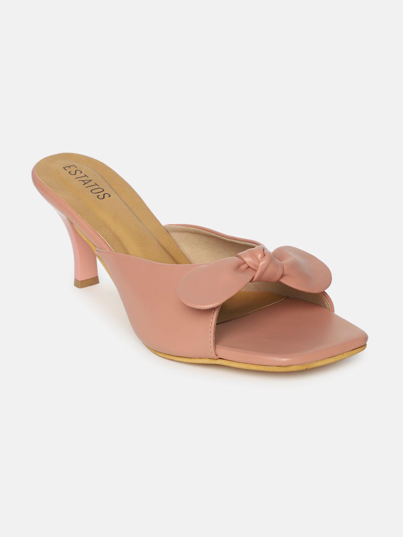 ESTATOS | Estatos Synthetic Leather Pointed Heeled Peach Sandals