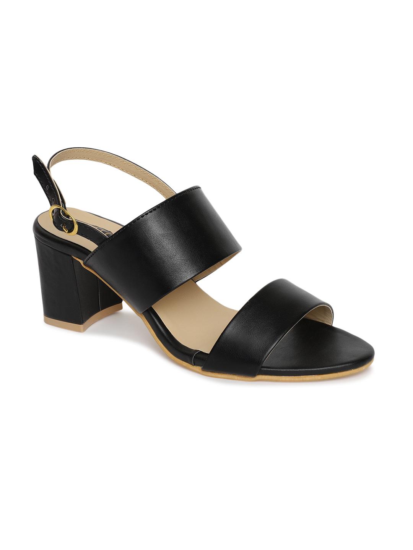 ESTATOS | Estatos Black Comfortable Block Heel Buckle Closure Sandals  for Women