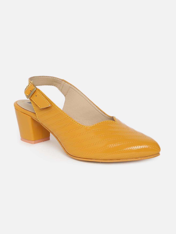 ESTATOS | Estatos Ankle Strap Yellow Block Heels  Bellies