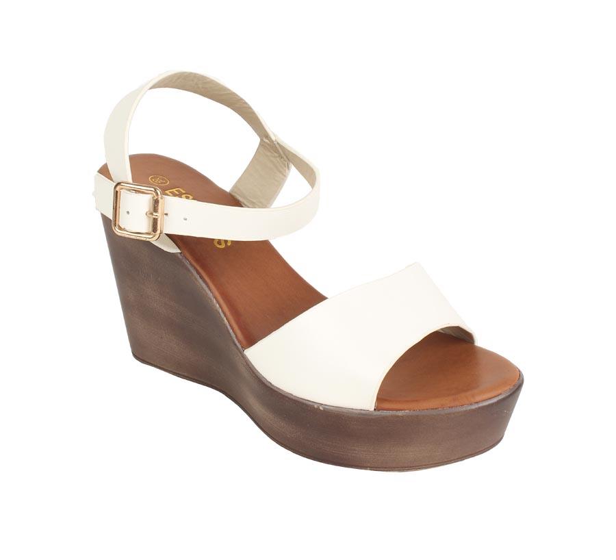 ESTATOS | Estatos PU White Coloured Ankle  Strap Open Toe Platform Wedges