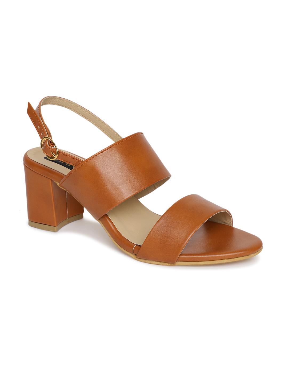 ESTATOS | Estatos Brown Comfortable Block Heel Buckle Closure Sandals  for Women