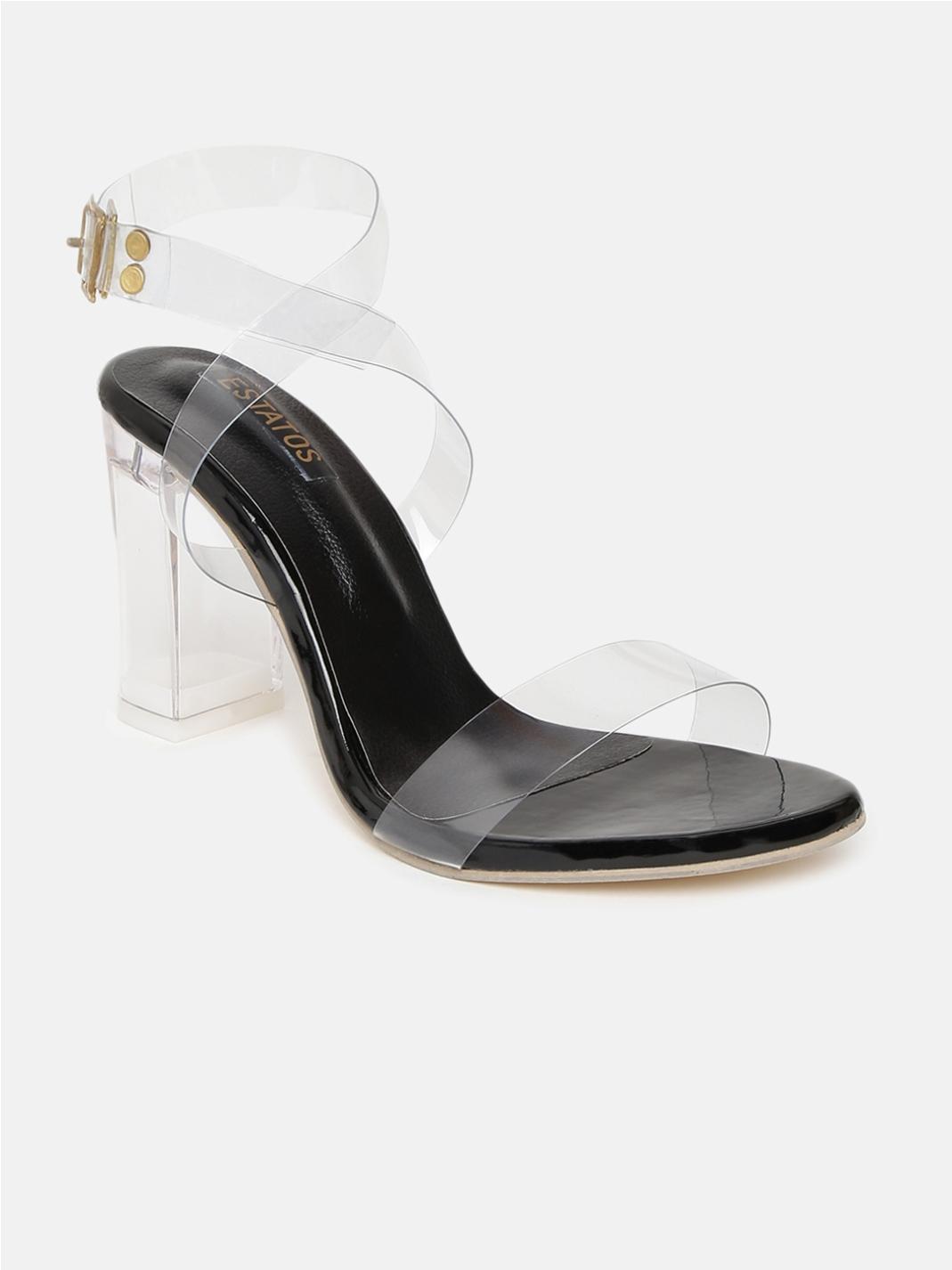 ESTATOS | Estatos Leather Single Strap Block High Heeled White Sandals