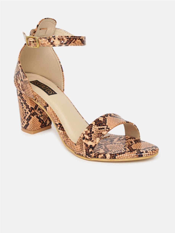 ESTATOS | Estatos Leather Ankle Strap Block High Heeled Peach Sandals