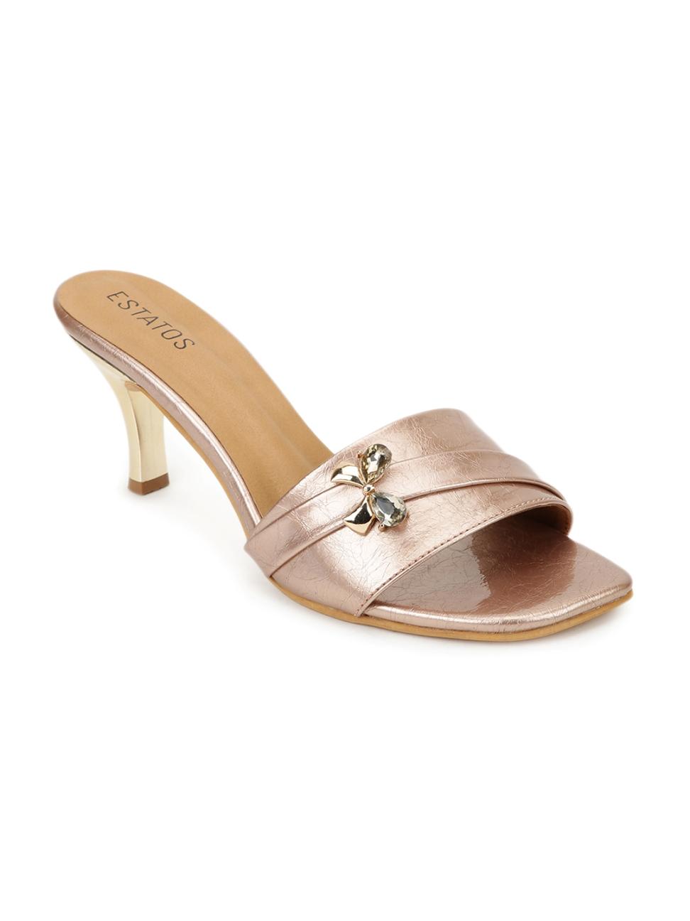 ESTATOS | Estatos Synthetic Leather Pointed Heeled Peach Sandal