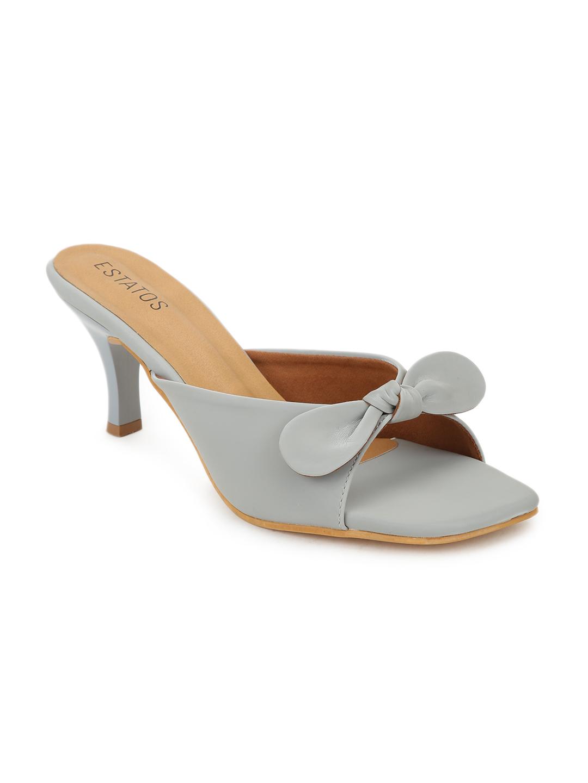 ESTATOS | Estatos Synthetic Leather Pointed Heeled Grey Sandals