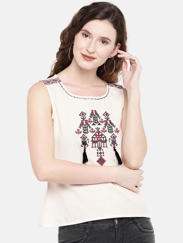 Ethnicity | Ethnicity Ecru Cotton Flax Women Top
